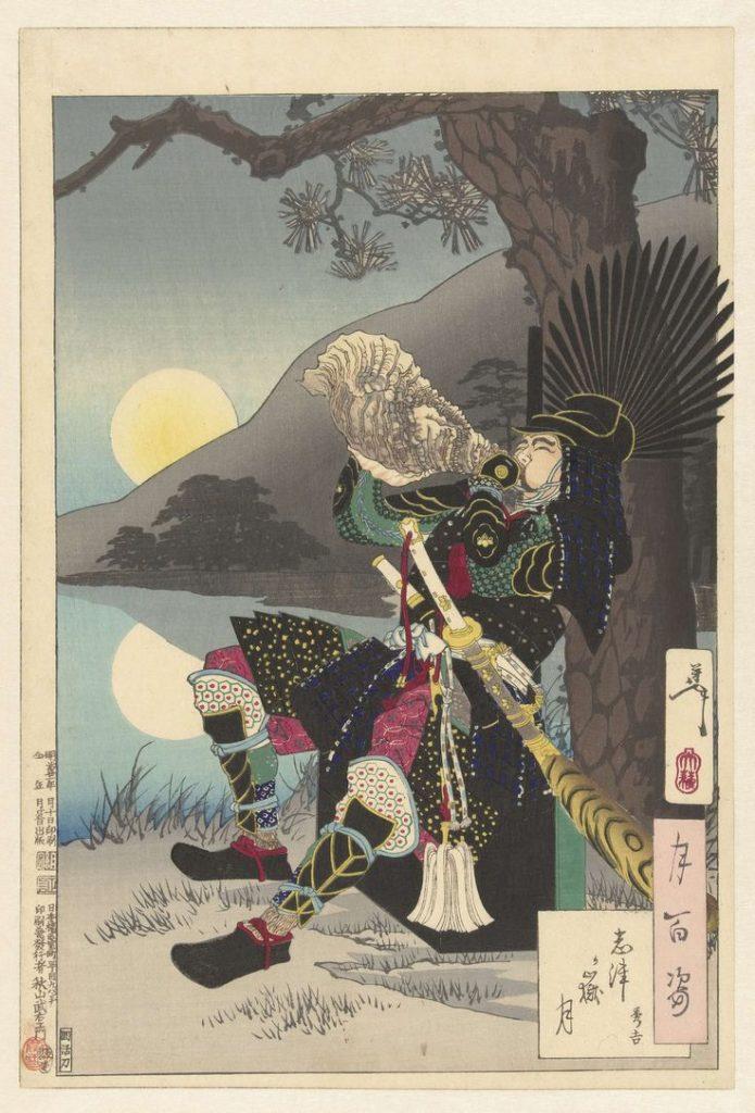 original print of toyotomi hideyoshi by Tsukioka Yoshitoshi samurai