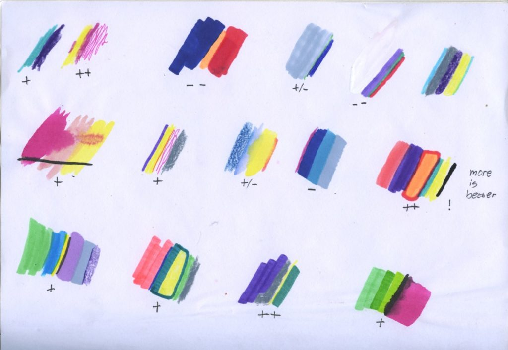 colour research with grading second year KABK fashion mode