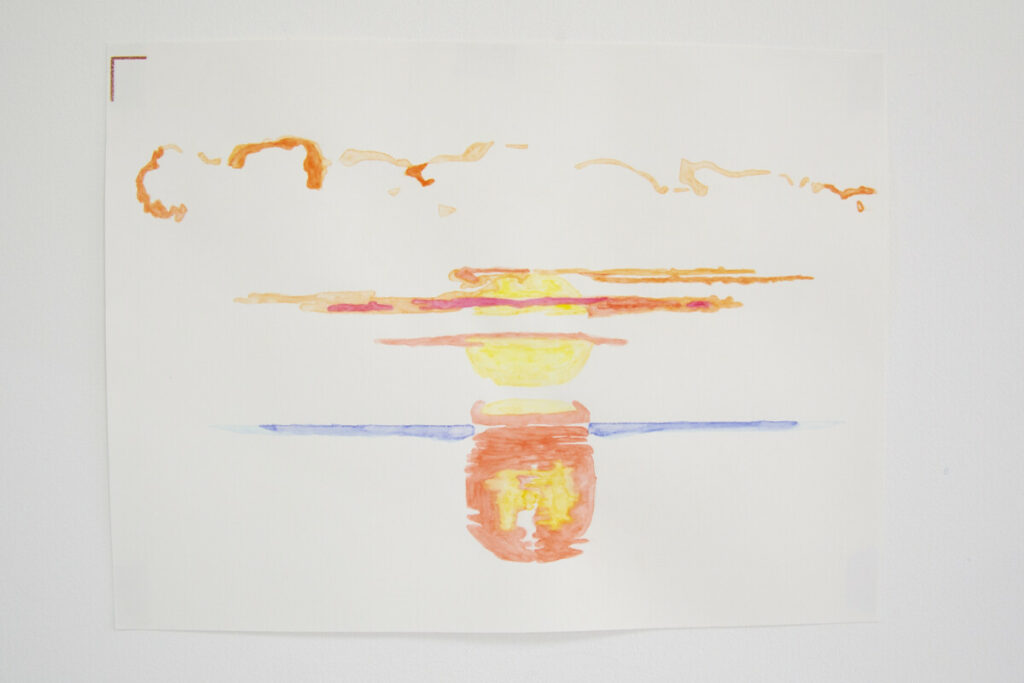 a sunrise on a white paper made with water color or aquarel pencils. Hgtomi Rosa Case study exhibition series 1